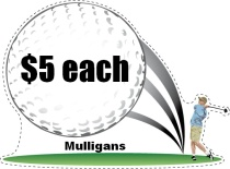 Mulligans Golf Swing Shaped Sign